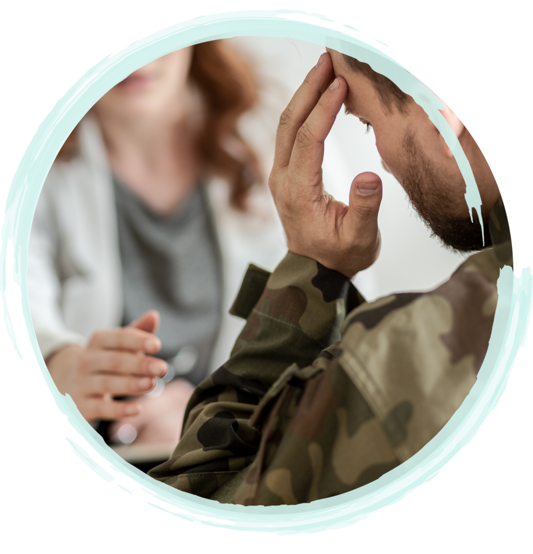 Man With Left Hand Fingers Resting On His Left Temple While In An EMDR Therapy Session | Fort Lauderdale EMDR Therapy & Fort Myers EMDR Therapy by A Peaceful Mind Counseling
