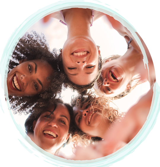 Young teen girls smiling in a circle looking down at the camera | Fort Myers Teen Therapy Services & Fort Lauderdale Teen Therapy Services by A Peaceful Mind Counseling | Teen Counselors in Fort Myers | Teen Counselors in Fort Lauderdale